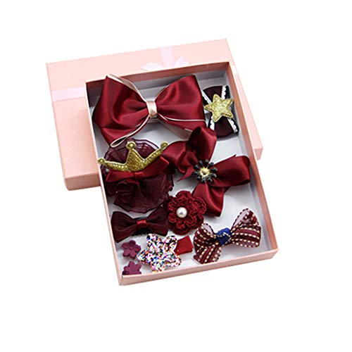 (Cute Sweet Children's Princess Crown Bow Set of 10 Sets of Hair Clip Jewelry Red)
