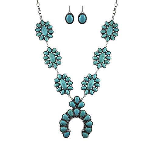 (Turquoise Vintage Flower Metal Statement Necklace/w Earrings)