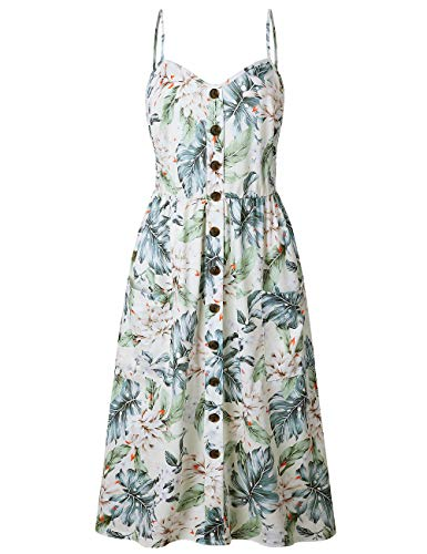 Bibowa Women Spaghetti Strap Dress 90 s - Bohemian Petite Tropical Flare Hawaiian Swing Nice Beach Dresses White Pineapple S