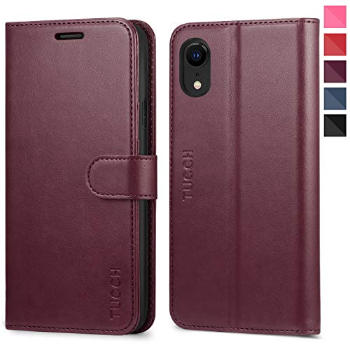 iPhone XR Case, iPhone XR Wallet Case, TUCCH PU Leather Flip Folio Slim Case [RFID Blocking][Kickstand] Credit Card Slots, [Wireless Charging] Compatible with iPhone XR(6.1 inch) - Wine Red