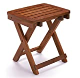 URFORESTIC 100% Natural Bamboo Folding Stool Shower Bench Seat Fully Assembled (18 inehes Basic for Shower seat)
