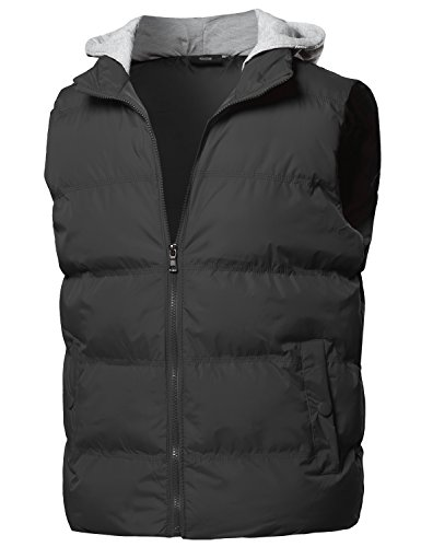 Hooded Mens Outerwear (Solid Drawstring Hooded Outdoor Padded Vest Black Size 2XL)