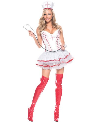 [Be Wicked Costumes Women's Home Care Nurse Costume, Red/White, Large/X-Large] (Womens Nurse Halloween Costumes)