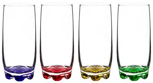 Vibrant Splash Water/Beverage Highball Glasses, 13.25 Ounce - Set of 4