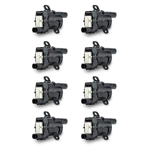 Ignition Coil Pack Set of 8 - Fits V8 Chevy Silverado, Tahoe, Suburban GMC Sierra, Savana, Yukon, XL 1500, 2500 & more - Replaces# 12563293, D585, C1251, 19005218, UF262, GN10119, 10457730 (Renewed) ()