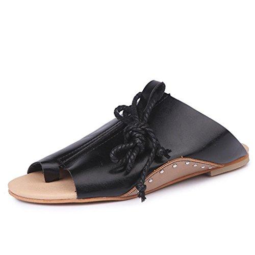 Xjp Women Summer Peep-Toe Slippers Ankle Strap Flat Roman Sandals Black jMUhlBFw