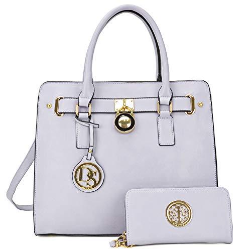 DASEIN Fashion Top Belted Tote Satchel Designer Padlock Handbag Shoulder Bag for Women (2554w-purple) ()