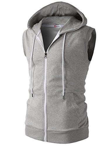 H2H Mens Casual Slim Fit Lightweight Sleeveless Hoodies Zip-up Vest Tank Top GRAY US M/Asia L (CMTTK030)