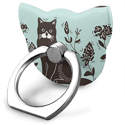 ACHOGI Cat Lithograph Metal Cell Phone Finger Ring Stability Holder Back Stand Collapsible Hand Grip 360° Rotation Kickstand for All Smartphones and Tablet