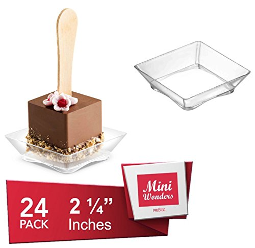 - Clear Plastic Dessert Bowls Plates | 2.25 Inches - 24 Pack | Arc Base Square Shape Disposable Small Bowls | Pinch Prep Dipping Bowls | Condiment Sauce Custard Cups | Candy Dishes [Mini Wonders]
