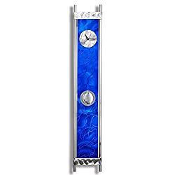 Blue Wall Clock in Contemporary, Modern Style with Silver Details and Pendulum - Functional Art - Decorative Hanging Wall Clock for Home, or Office - Rush Hour Blues Clock By Jon Allen - 48-inch