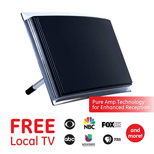 GE Black Indoor TV Antenna, Perfect Home Decor Long Range Antenna, Digital, HDTV Antenna, Smart TV Compatible, 4K 1080P VHF UHF, 6ft Coaxial Cable, Amplifier, Signal Booster, 34134