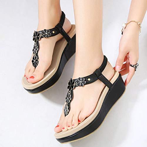 Élastique Sandales Confortable Beach Clip Pour Sandals Chaussures Compensées Bande Noir Sandal Creepers Femmes Femmes Tongs Orteil À Talons n6wUxXwq