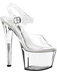 Summitfashions Womens Clear Sandals Treasure Chest Dancers Shoes Silver Ankle Strap Open Toe
