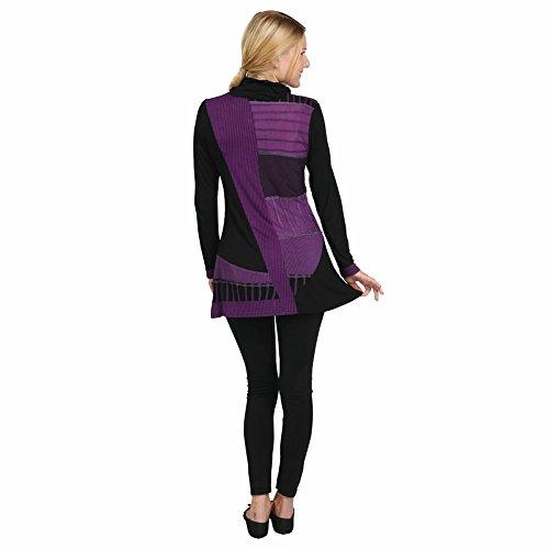 Women's Tunic Top - Parsley & Sage Purple Patchwork Shirt - Cowl Neck - 2X