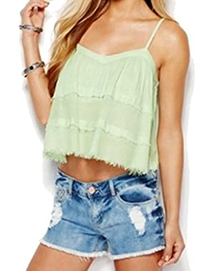 Guess Women's Large Cropped Fringed Hem Knit Top Green L