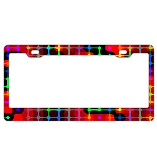 Guang trading Arrangement Aesthetics Red Line Pattern License Plate Frame Stainless Steel Fashion License Plate Frame Humor Car Tag Cover 2 Hole and Screws