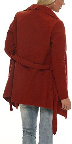 malito elegante corto Abrigo con Cascada Noble Capote Manteo Gabán Chaqueta Envolver Bolero 3031 Mujer One Size rojizo