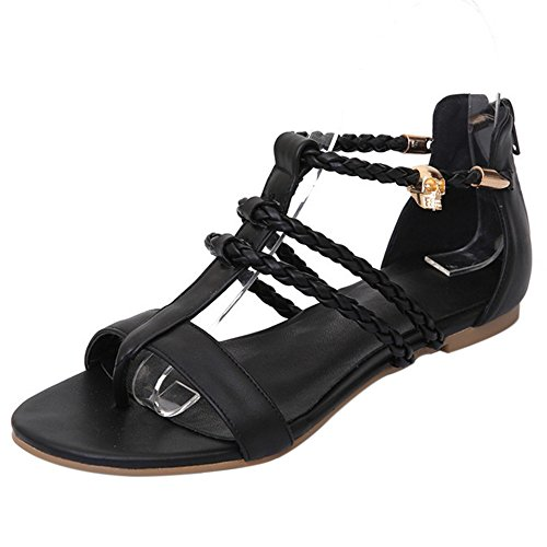 Mujer Plano Negro Tamano Moda Punta Hueco COOLCEPT Redonda Chancla Zapatos Cremallera Sandalias TxBIwWdq