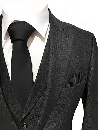TD GARMENTS Solid Satin Pure Color Tie Handmade Mens Necktie & Pocket Square + Giftbox (BLACK)