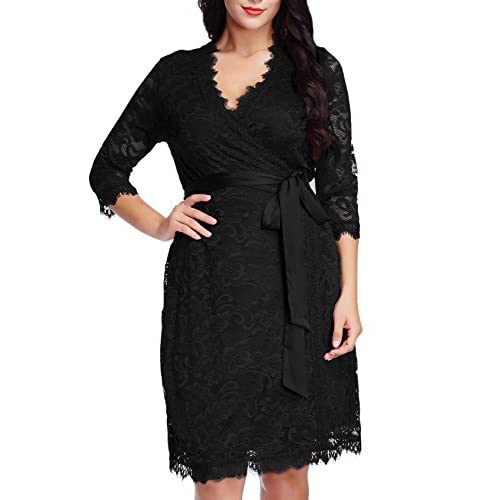 9e469b58 30%OFF Grapent Womens Plus Size Floral Lace 3/4 Sleeves Formal True Wrap