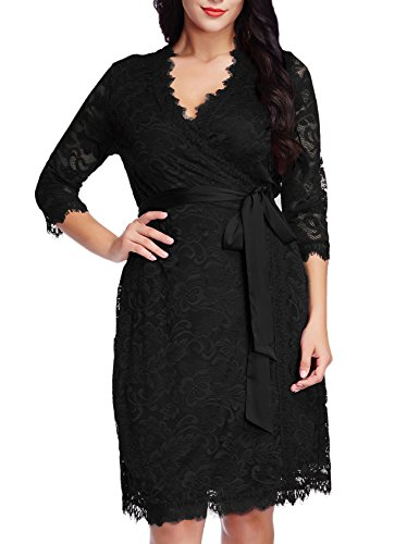 Grapent Womens Plus Size Black Floral Lace 3/4 Sleeves Formal True Wrap Dress Cocktail 3X
