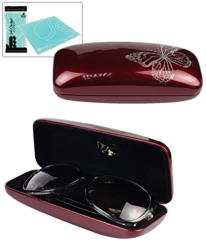 JAVOedge Red Butterfly Glossy Hard Rectangle Glasses Case with Bonus Microfiber Cloth