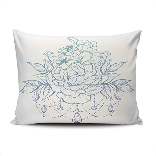 (WULIHUA Pillow Covers Vintage Boho Style Ornate Flowers Leaves Sticks Buds Beads Sofa Durable Modern Pillow Case Decorative Custom Throw Pillow Cases one Side Printed Queen 20x30 Inches)