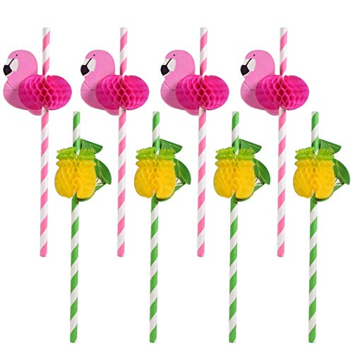 Sakolla (30 PCS) Flamingo and Pineapple Drinking Straws, 3D Decoration Pink Striped Degradable Straw for Hawaii Holiday Birthday Wedding Party Supplies Party Decoration]()