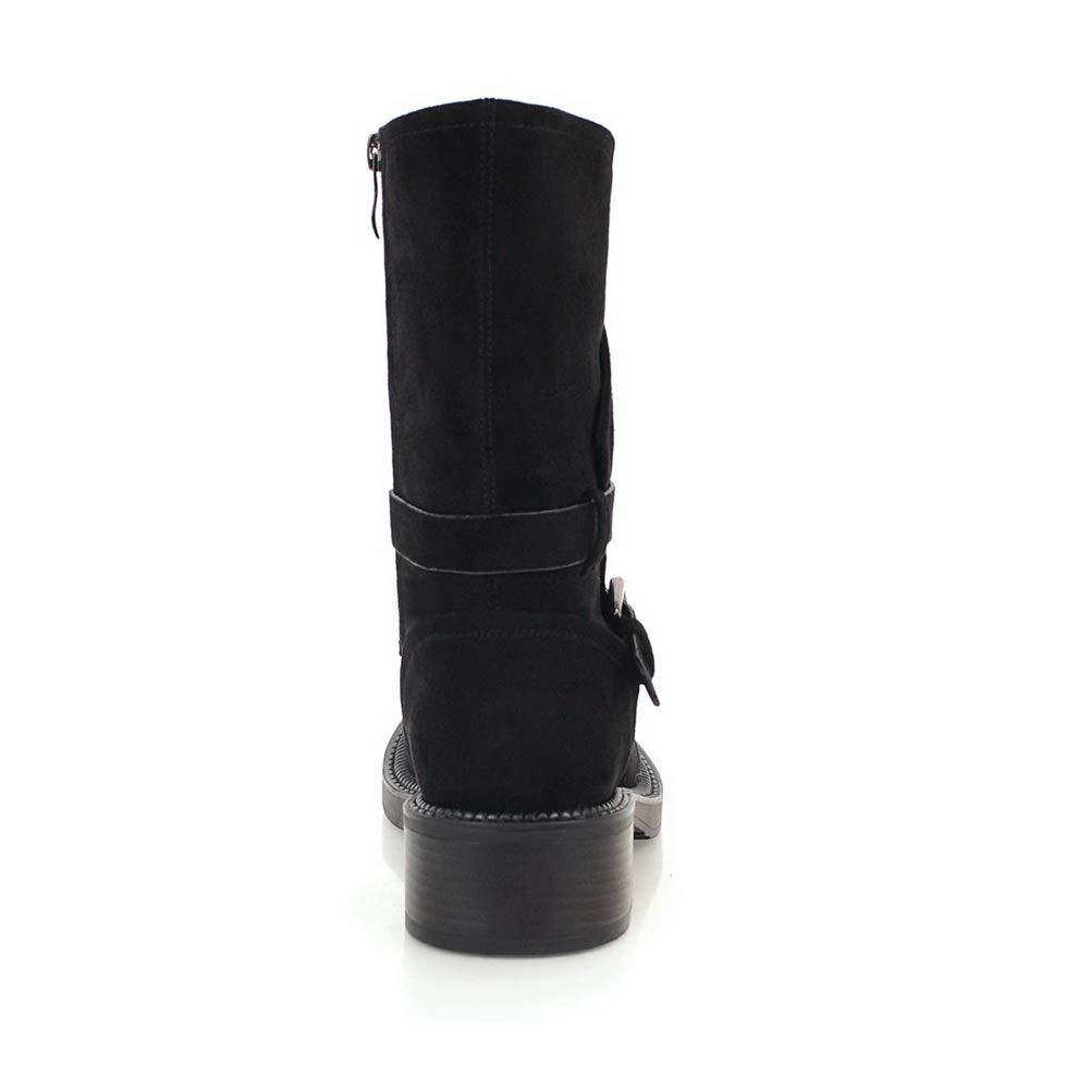 BalaMasa Womens Warm Lining Boots Bucket-Style Urethane Boots ABL12270