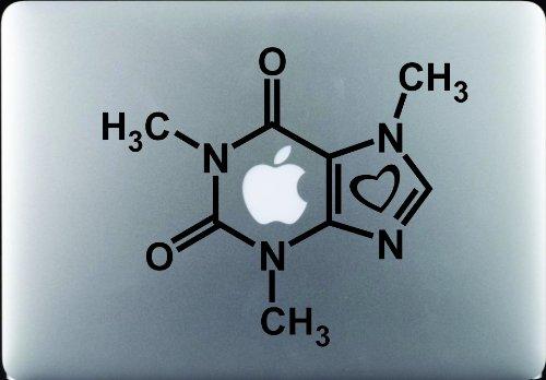 Caffeine Molecule with Heart Decal Sticker Vinyl Macbook Pro Air Apple Logo 11