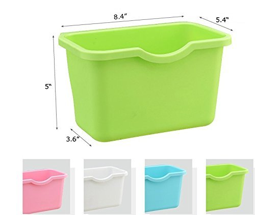 Pack of 2 Over the Cabinet Basket Wastebaskets, Multifuctional Hanging Trash Can Waste Bins Garbage Containers (Green & Blue)