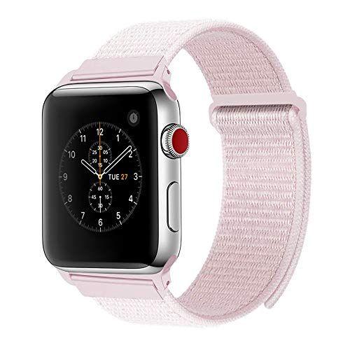 - penen 38mm 42mm Soft Nylon Watch Sport Loop Band Adjustable Closure Wrist Strap Breathable Woven Nylon Replacement Strap for Watch Series 3,2,1 (Pearl Pink, 42 mm)