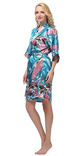 gusuqing Women's Printing Peacock Kimono Robe Short Sleeve Silk Bridal Robe Peacock Blue S