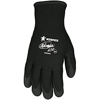 Memphis N9690 Ninja Ice Gloves, HPT Coated Palm and Fingers, Dual Layered: 15 Gauge Nylon Shell and 7 Gauge Terry Liner, HPT Coating Repels Liquid, ...