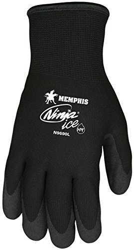 Memphis N9690 Ninja Ice Gloves, HPT Coated Palm and Fingers, Dual Layered: 15 Gauge Nylon Shell and 7 Gauge Terry Liner, HPT Coating Repels Liquid, Flexible to -58 Fahrenheit, 12 Pair LARGE