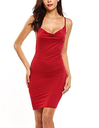Zeagoo Women's Plus Size Sexy Cowl Neck Package Hip Mini Club Party Dress Dark Red XL