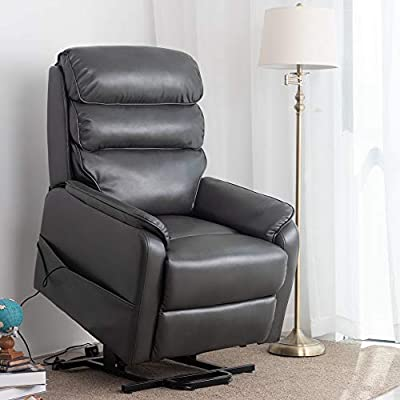 Irene House (Dual Motor) Lays Flat Electric Power Lift Recliner Chair for Elderly Comfortable (Breath Leather ),Soft and Sturdy (Grey Leather)