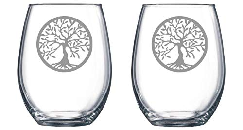 (Tree of Life set of 2 Etched Stemless Wine glass, Pint Glass, Stemmed wine Glass, Rocks glass, Pilsner or Nonic Pint glass)