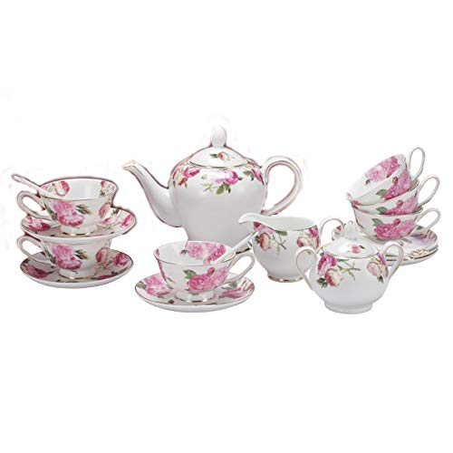 Vintage Floral Porcelain - Porlien Tea Set, Rose Camellia, Porcelain Gift Set (6 teacup sets with teapot)