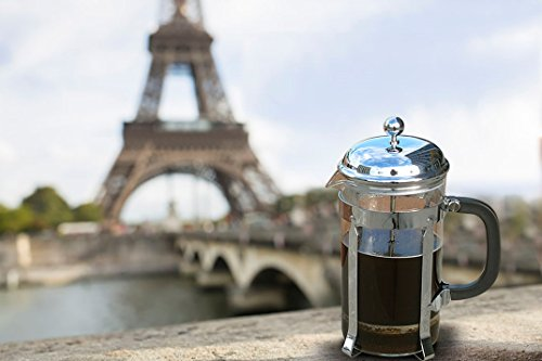 French Press Coffee & Tea Makers 8 Cup (1 liter, 34 oz)--Best Coffee Press Pot with 304 Grade Stainless Steel & Heat-Resistant Borosilicate Glass--2 Free Bonus Stainless Steel Screen in Package