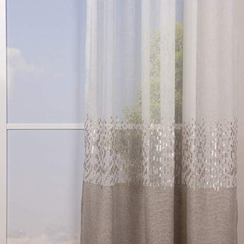 Bella vita – Tenda pronta con passanti, effetto lino, effetto metallizzato, con paillettes, 140 x 245 cm, colore: Bianco talpa