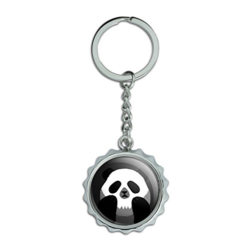 - Panda Skull Optical Illusion Spooky Chrome Plated Metal Pop Cap Bottle Opener Keychain Key Ring