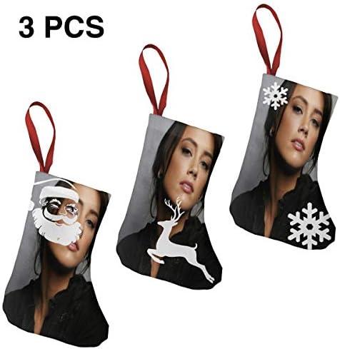 クリスマスの日の靴下 (ソックス3個)クリスマスデコレーションソックス 俳優アンバーハードAmber Heard クリスマス、ハロウィン 家庭用、ショッピングモール用、お祝いの雰囲気を加える 人気を高める、販売、プロモーション、年次式