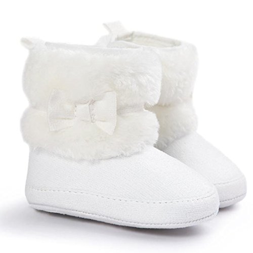 Baby Girls Winter Snow Boots Bowknot Prewalker (White) - 4