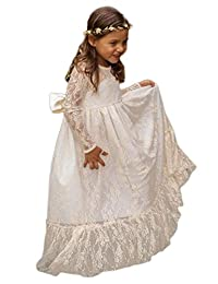 GU ZI YANG Long Sleeves Lace Flower First Communion Dresses Floor Length 35