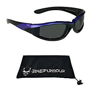 Purple Frame Motorcycle Riding Sunglasses Foam Padded for Women. Safety Polycarbonate Smoke Lenses and Free Microfiber Cleaning Case