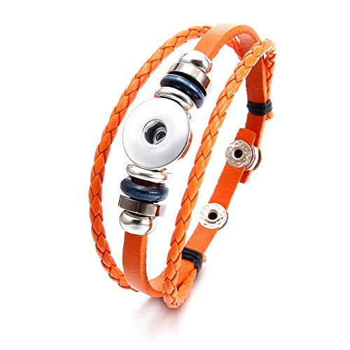 (Snap Charms Bracelet Boho Snap Button Wrap Bracelet Cuffs Multi Strand Leather Bracelet Set for Men Women (J-Orange))
