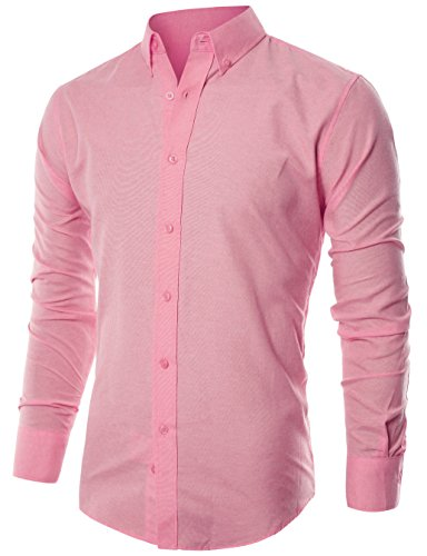 ohoo-mens-slim-fit-long-sleeve-light-weight-oxford-casual-button-down-shirt-dcc015-pink-xl-6