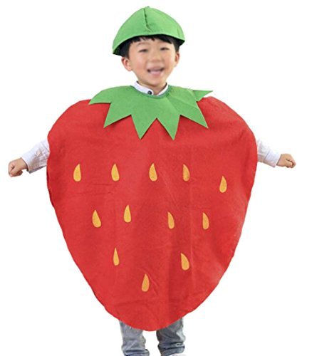 Strawberry Halloween Costumes Toddler - ANDES Child Party Clothing Cute Strawberry Costume Suit For Christmas Holidy (Strawberry)